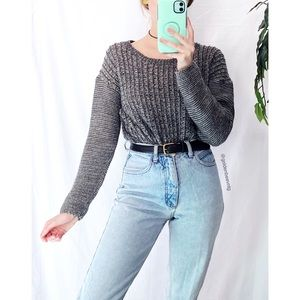 🌿 Cozy Speckled Gray Woven Knit Crop Sweater 🌿